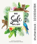 tropical hawaiian sale flyer... | Shutterstock .eps vector #1010036584