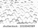 white hexagon 3d background... | Shutterstock . vector #1010040589