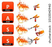 fire extinguisher instruction... | Shutterstock . vector #1010040940
