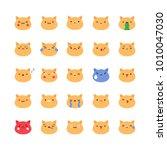 emoji orange cat icon vector...   Shutterstock .eps vector #1010047030