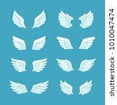 flat style wings vector set....   Shutterstock .eps vector #1010047474