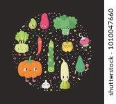 cute cartoon vegetables circle...   Shutterstock .eps vector #1010047660