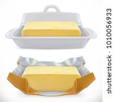 butter. 3d realistic vector icon | Shutterstock .eps vector #1010056933