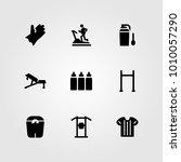 fitness vector icon set. shirt  ... | Shutterstock .eps vector #1010057290