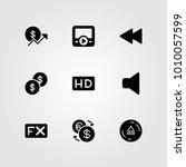 buttons vector icon set. coin ... | Shutterstock .eps vector #1010057599