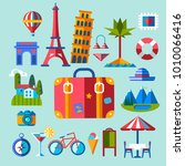 set of flat icons for summer... | Shutterstock .eps vector #1010066416