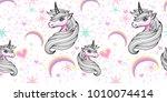 hand drawn fantasy unicorn and... | Shutterstock .eps vector #1010074414