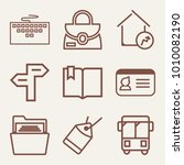 set of 9 business outline icons