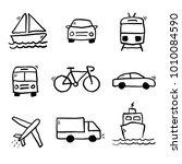 vector transportation doodle...   Shutterstock .eps vector #1010084590