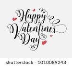 hand lettering happy valentines ... | Shutterstock .eps vector #1010089243