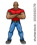 man with big muscle body posing | Shutterstock .eps vector #1010102170