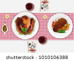 dining table view top with... | Shutterstock .eps vector #1010106388