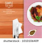roasted turkey bird on white... | Shutterstock .eps vector #1010106409