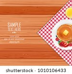 breakfast table with pancakes... | Shutterstock .eps vector #1010106433