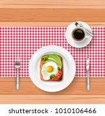 breakfast menu with fried egg ... | Shutterstock .eps vector #1010106466