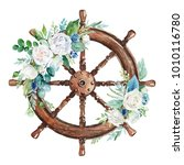 watercolor hand drawn nautical  ... | Shutterstock . vector #1010116780
