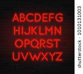 glowing realistic neon... | Shutterstock .eps vector #1010131003