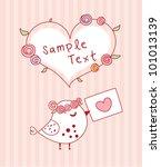 cute little bird love letter | Shutterstock .eps vector #101013139