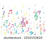 colorful flying musical notes... | Shutterstock .eps vector #1010152810