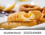 closeup of fresh breaded... | Shutterstock . vector #1010164684