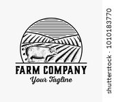 hand drawn farm logo design... | Shutterstock .eps vector #1010183770