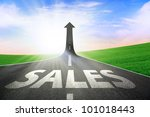 a road turning into an arrow...   Shutterstock . vector #101018443