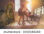 sporty girl doing weight... | Shutterstock . vector #1010186260