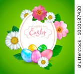 easter greeting card with... | Shutterstock .eps vector #1010187430