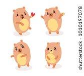 set of cute bear character... | Shutterstock . vector #1010197078