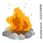 isolated campfire on a white... | Shutterstock .eps vector #101019898