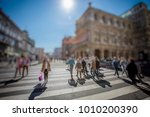 crowd of anonymous people... | Shutterstock . vector #1010200390