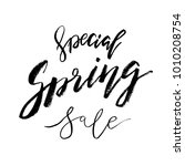 special spring sale   hand... | Shutterstock .eps vector #1010208754