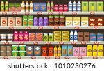 supermarket  shelves with... | Shutterstock .eps vector #1010230276