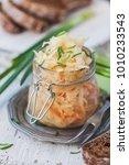 salad sauerkraut in a glass jar ... | Shutterstock . vector #1010233543