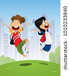 two happy cartoon pupils  boy... | Shutterstock .eps vector #1010233840