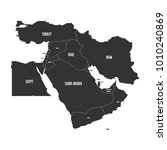 political map of middle east ... | Shutterstock .eps vector #1010240869