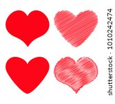 red heart icon set. different... | Shutterstock .eps vector #1010242474