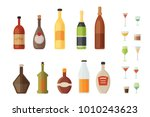 set design alcohol bottles and... | Shutterstock .eps vector #1010243623