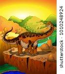 cute cartoon titanosaur with... | Shutterstock .eps vector #1010248924
