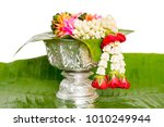 jasmine garland on the tray...   Shutterstock . vector #1010249944
