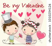 valentines card with cute... | Shutterstock .eps vector #1010254126