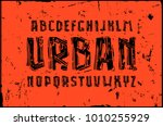 sans serif font in linocut... | Shutterstock .eps vector #1010255929