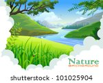 beautiful hills and river... | Shutterstock .eps vector #101025904