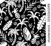 palm trees  leaves  pineapples...   Shutterstock .eps vector #1010261098