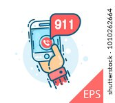 emergency call 911 concept.... | Shutterstock .eps vector #1010262664