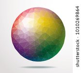 triangulated sphere in rainbow... | Shutterstock .eps vector #1010269864