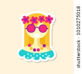 beautiful hippie girl cute... | Shutterstock .eps vector #1010275018