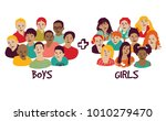 isolated group boys and girls. | Shutterstock .eps vector #1010279470