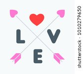 love typography with crossed...   Shutterstock .eps vector #1010279650