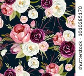 seamless watercolor floral... | Shutterstock . vector #1010285170